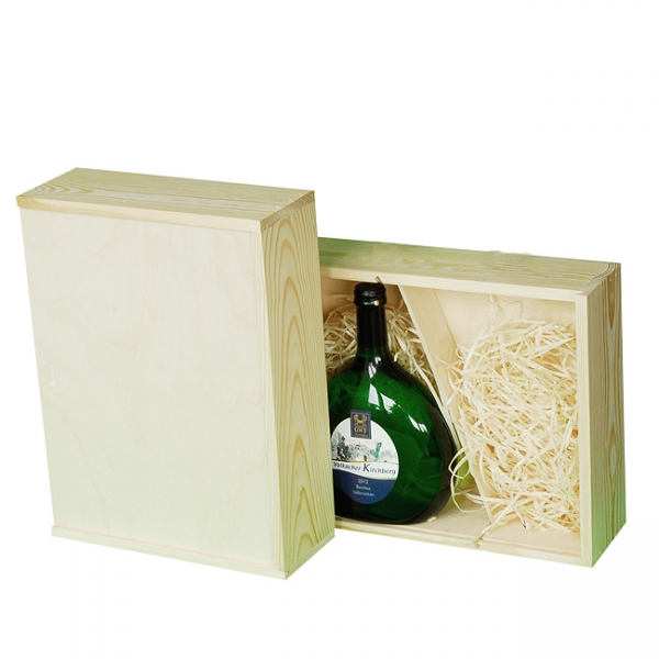 Wooden box with sliding lid for 2 Bocksbeutel-bottle