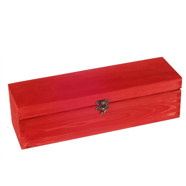 Wooden box with sliding lid for 1 bottle red