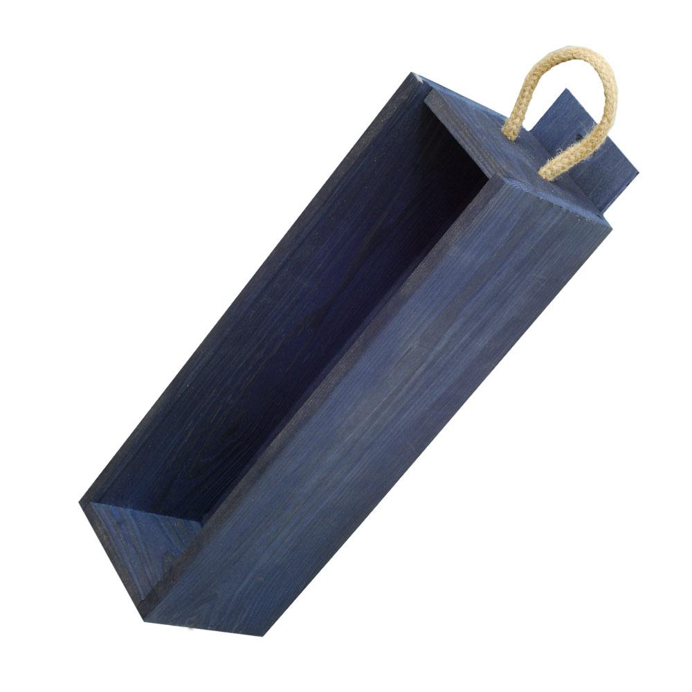 holzkisten kaufen weinkisten korbwaren blaue holzkiste f r 1 weinflasche plexiglas. Black Bedroom Furniture Sets. Home Design Ideas